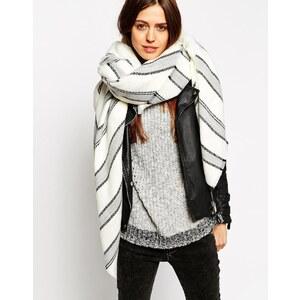 ASOS - Übergroßer, quadratischer Schal mit vielen grauen Streifen - Gebrochenes Weiß