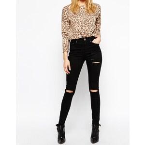 ASOS - Ridley - Jeans in Schwarz mit Abnutzungen und zerrissenen Knien - Schwarz