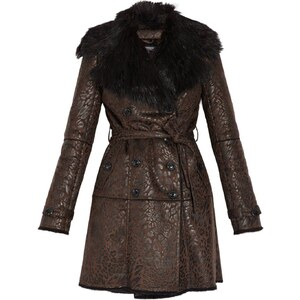 Morgan Manteau imitation peau lainée - marron