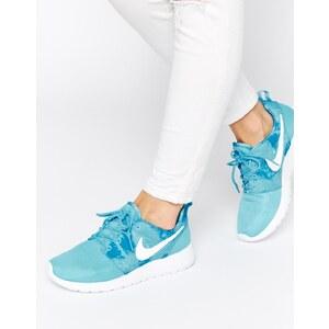 Nike - Rosherun - Blaue Turnschuhe mit Druckeffekt - Blau