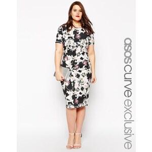 ASOS CURVE - Figurbetontes Kleid mit Lilienprint - Mehrfarbig