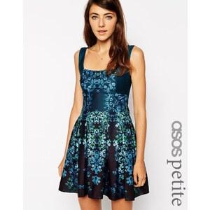 ASOS PETITE - Exklusives Debütantinnen-Minikleid mit Blumenmuster - Blau