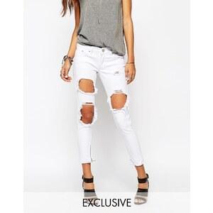 Liquor & Poker - Skinny-Jeans mit extrem zerrissener Kniepartie - Weiß