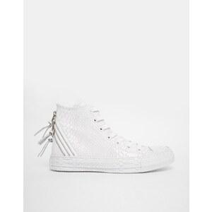 Converse - All Star - Weiße, hohe Turnschuhe mit Reptilienprägung - Weiß