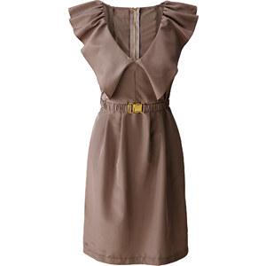 BODYFLIRT Kleid/Sommerkleid ohne Ärmel figurumspielend in braun (V-Ausschnitt) von bonprix