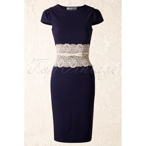 Paper Dolls Lara Navy Pencil Dress with Cream Lace Panel
