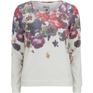 ONLY Women's Cherry Flowers Sweatshirt - Cloud Dancer