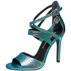 Buffalo High Heel Sandaletten holografic lizard blue