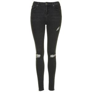 Topshop Schwarze MOTO Jamie Jeans im Destroyed-Look Tall-Größe - Ausgewaschenes Schwarz