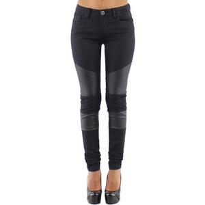 Go tendance Jeans Jean skinny noir style motard