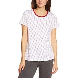 Huber Damen T-Shirt Schlafanzugoberteil, Gepunktet