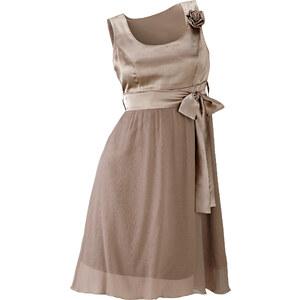 BODYFLIRT Kleid ohne Ärmel figurbetont in beige (Rundhals) von bonprix