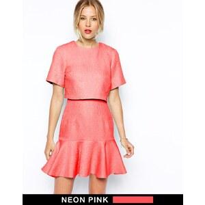 ASOS - T-Shirt-Kleid mit Schößchensaum - Rosa