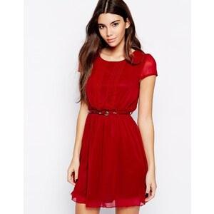 Pussycat London - Kleid mit Gürtel und Faltendesign vorne - Rot