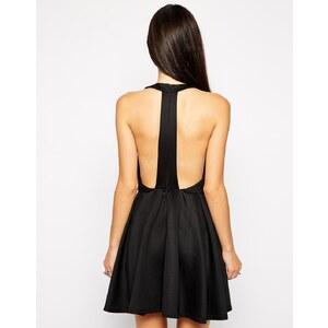 AX Paris - Lasercut-Skaterkleid mit Zierausschnitten hinten - Schwarz