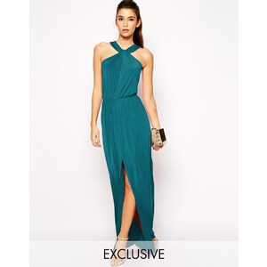 Love - Neckholder-Maxikleid in Wickeloptik aus Jersey - Smaragdgrün