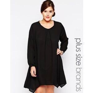 Praslin - Langärmliges schwingendes Kleid - Schwarz