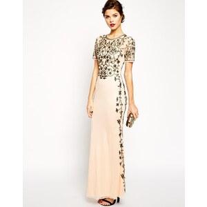 ASOS RED CARPET - Langes Kleid mit Godetfalten und barocker Verzierung - Nude
