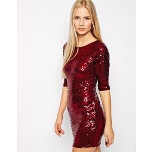 Club L - Kleid mit durchgehendem Paillettenbesatz - Beerenfarben