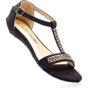 BODYFLIRT Sandale mit 3 cm Keilabsatz in schwarz von bonprix