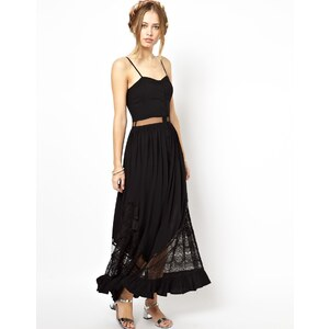 Jarlo Bell Maxi Dress with Lace and Mesh Inserts
