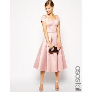 ASOS TALL - Mittellanges Satin-Ballkleid im Bardot-Stil - Rosa 65,49 €