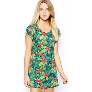 Bellfield - T-Shirt-Kleid mit tropischem Motiv - Mehrfarbig