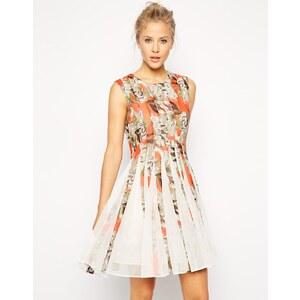 ASOS - Kleid mit geblümtem Netzstoffeinsatz - Rot