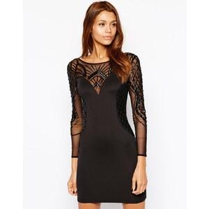 Michelle Keegan Loves Lipsy - Verziertes, figurbetontes Kleid mit langen Netzstoffärmeln - Schwarz