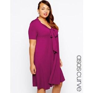 ASOS CURVE - Swing-Kleid mit kurzen Ärmeln und Schleifenverzierung