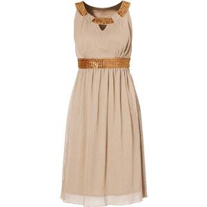 BODYFLIRT Kleid figurbetont in beige (Rundhals) von bonprix