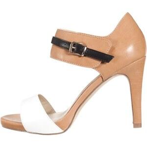 Anna Field High Heel Sandaletten white/cognac/black