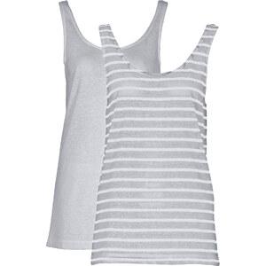RAINBOW Shirttop, Doppelpack ohne Ärmel in grau für Damen von bonprix