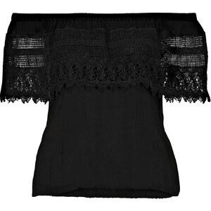 RAINBOW Blusentop kurzer Arm in schwarz (Carmen-Ausschnitt) von bonprix