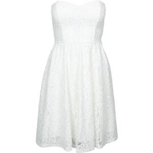 Tally Weijl Weißes, trägerloses Kleid mit Spitzen-Details