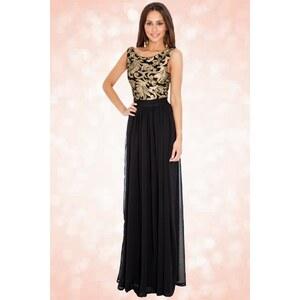 Vintage Chic 30s Scarlet Gold Maxi Dress in Black