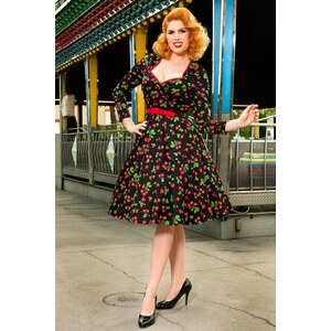 Pinup Couture 50s Heidi Black Cherry Long Sleeve Swing Dress