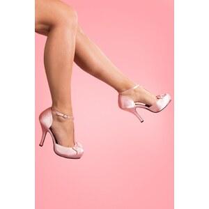 Pinup Couture 40s Cutiepie T-Strap D'Orsay Pink Satin platform pumps