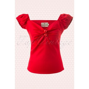 Collectif Clothing Dolores top Carmen red