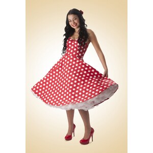 Bunny 50s Retro halter 50s Meriam Swing dress in Polka red white