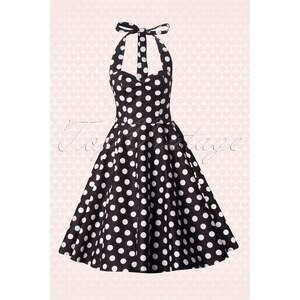 Bunny 50s Retro halter 50s Meriam Swing dress in Polka black white