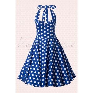 Bunny 50s Retro halter 50s Meriam Swing dress in Polka blue white
