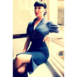 Miss Candyfloss TopVintage exclusive ~ 50s Lily blue pencil dress