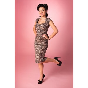 Stop Staring! Love Lace print Bow pencil dress