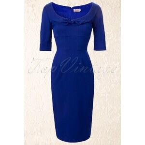 Glamour Bunny 60s Joan Dress Deep Royal Blue