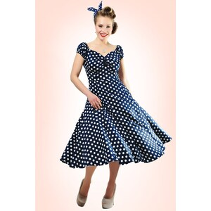 Collectif Clothing 50s Dolores Doll dress Navy White polka swing dress