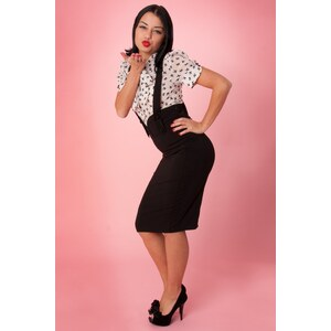 Collectif Clothing Agarva Braces black high waist pencil skirt