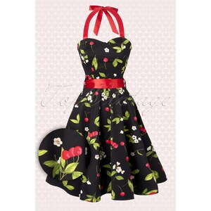 Hearts & Roses 50s Black Cherry Blossom swing halter dress