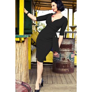 The Pretty Dress Company Black Hourglass Pencil dress with 3/4 sleeves