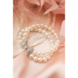 Collectif Clothing 30s Sweet Bow Double Pearl Bracelet